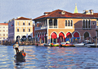 A watercolour painting of evening light on the Pescheria with gondola, Venice by Margaret Heath RSMA