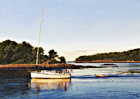 A painting of a yacht returning to York Harbor, Maine in the evening.