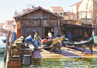 A watercolour painting of gondola repairs on Rio di San Trovaso by Margaret Heath RSMA.
