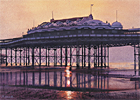 A painting of West Pier, Brighton at sunset by Margaret Heath.