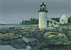 A painting of Marshall Point Light in Maine at dusk.