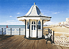 A painting of an old kiosk on Brighton Pier by Margaret Heath.