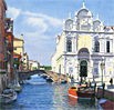 A watercolour painting of Rio dei Mendicanti, Venice by Margaret Heath RSMA.