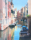 An oil painting of Rio di Santa Sofia, Venice by Margaret Heath RSMA.