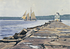 A painting of 'Heritage' passing Rockland Breakwater Light in Maine.