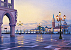 A watercolour painting of San Marco, Venice before dawn by Margaret Heath RSMA