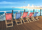A painting of a row of deck chairs on Brighton Pier by Margaret Heath.