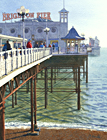 A painting of Brighton Pier in winter afternoon sunlight by Margaret Heath.
