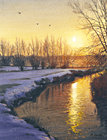 A watercolour painting of a river in Kent in winter at sunset by Margaret Heath.